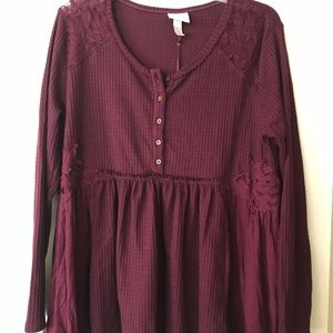 Never Been Worn Large Maroon Long Sleeve Shirt